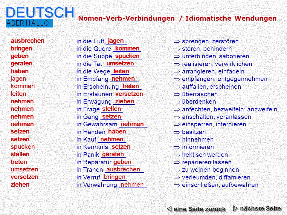 Nomen Verb Verbindungen اهم الاسماء بالافعال باللغة الالمانية