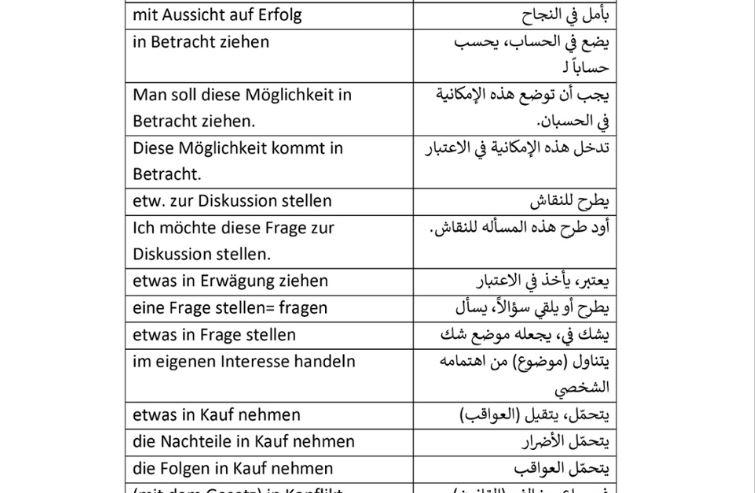 اهم المصطلحات في اللغة الالمانية مع شرحها والترجمة Redewendungen