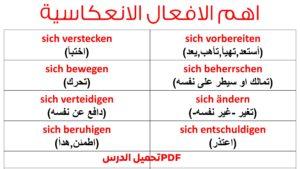 جميع الأفعال الانعكاسية في اللغة الألمانية مع جمل -  Reflexive Verben Liste PDF