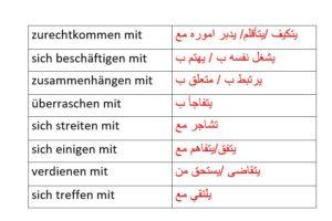 الافعال مع أحرف الجر اللغة الالمانية – جمل مترجمة مع حروف الجر mit präpositionen