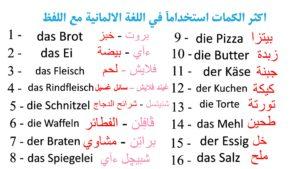 اهم 2000 كلمة في اللغة الالمانية مع اللفظ الكتابي – المطبخ والطعام