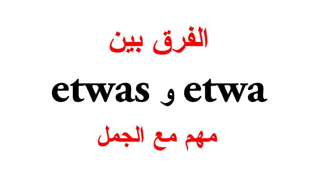 الفرق بين etwa و etwas مع جمل كثيرة